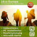 16 GB Europa Topo Karte – Kompatibel zu Garmin GPSMap 64s