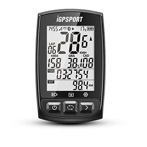 IGPSPORT Fahrradcomputer GPS ANT+ Funktion iGS50E Drahtlose Tachometer Radfahren Fahrrad Kilometerzähler Großes Display Wiederaufladbar Wasserdicht(Schwarz)